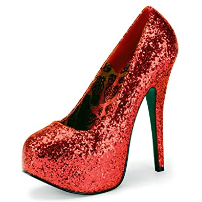 886990f094da Glimmering Red Glitter Heels Women s Platform Pumps with 5.75 Inch Heels  Size  11
