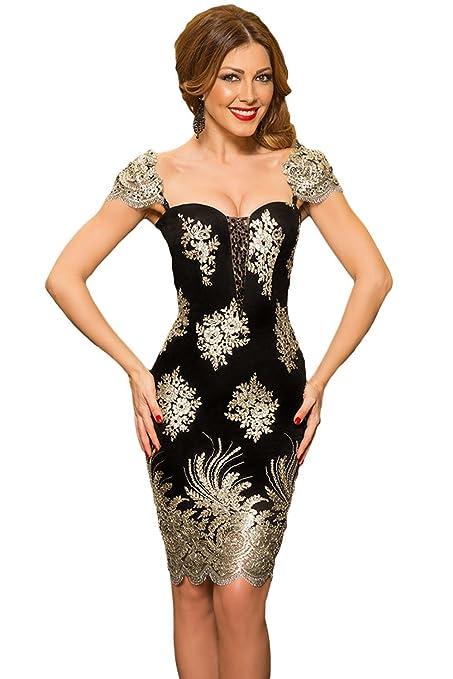 Nuevas señoras negro y dorado con relieve vestido corto vestido de fiesta vestido de fiesta cóctel