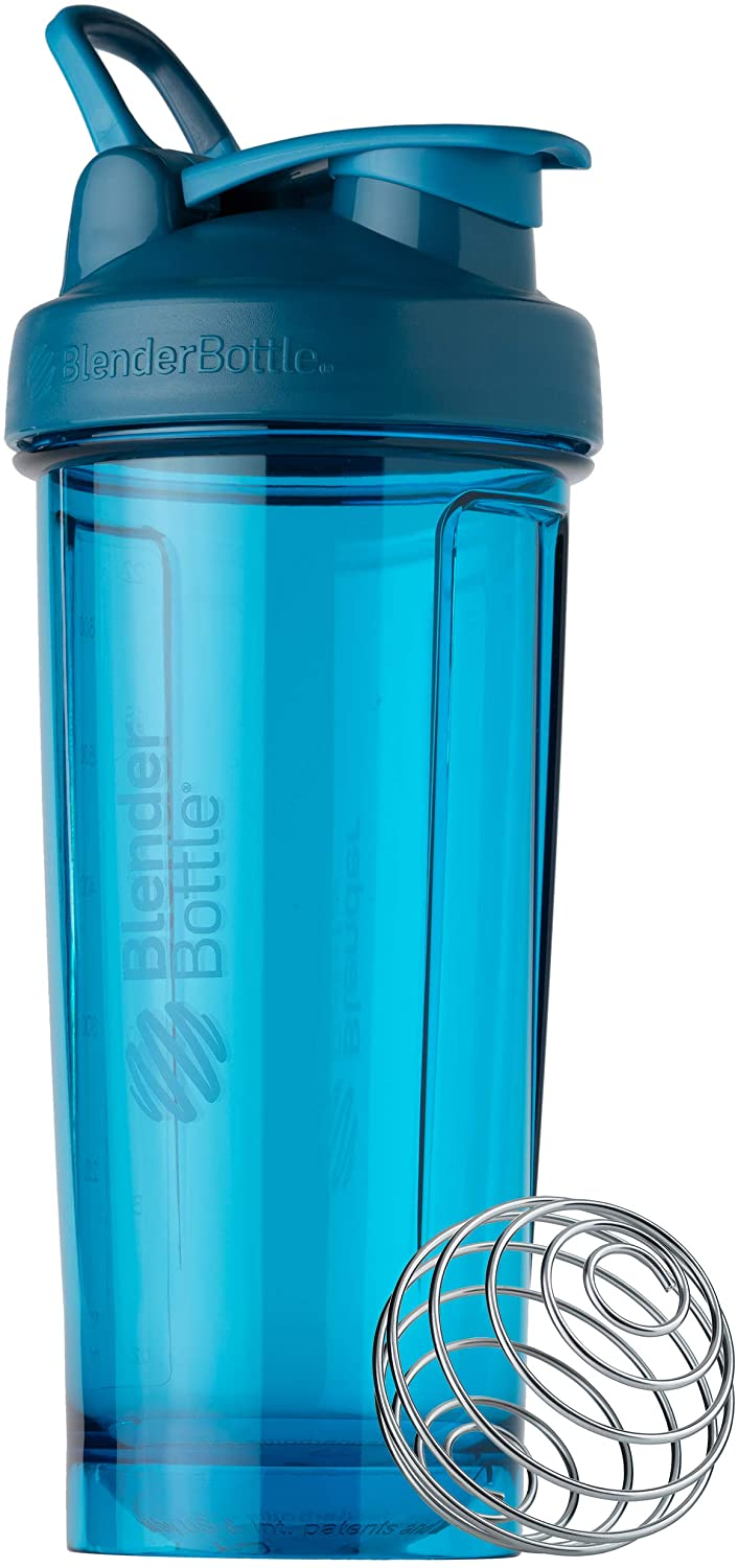 BlenderBottle Shaker Bottle Pro Series Perfect for Protein Shakes and Pre Workout, 28-Ounce, Ocean Blue