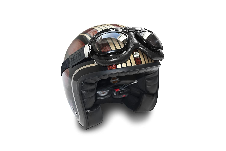 AF191CRA Italy Nero Acciaio Cromato Maschera Moto da Aviatore per Casco Banda elastica ricoperta in Seta Profili in Acciaio Cromato Bertoni Occhiali Moto in Pelle Vintage