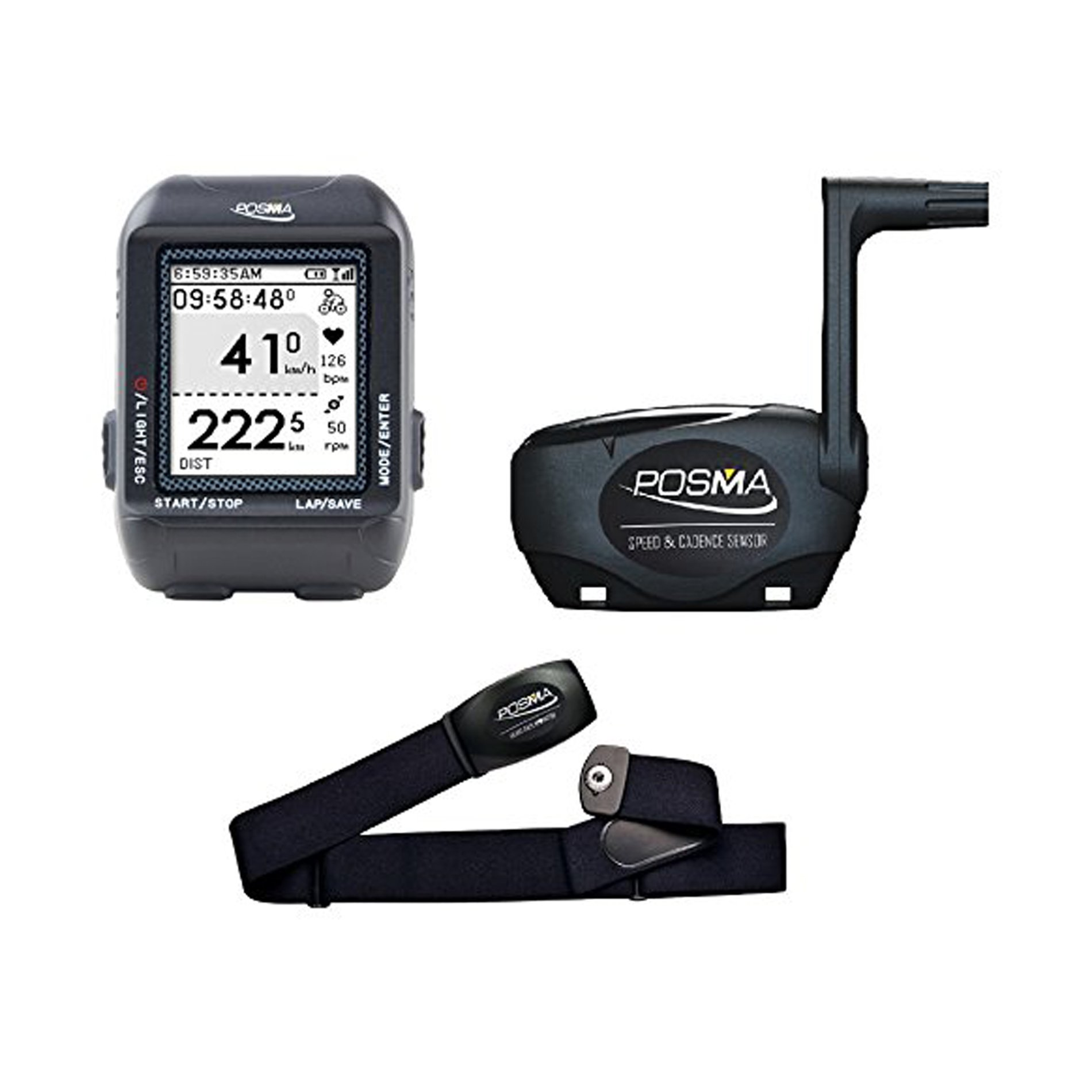 POSMA D3 GPS Cycling Bike Computer Speedometer Odometer with BCB20 Speed/Cadence Sensor & BHR20 Heart Rate Monitor by IDS Home