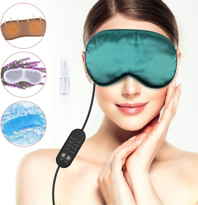 Máscaras de ojos de seda color lavanda, máscara de sueño USB ...