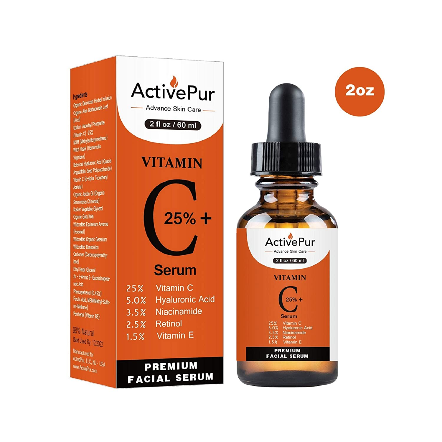 ActivePur 25% Vitamin C Serum for Face (Double Size, 2 OZ/60 ml) Vitamin E+B5, Hyaluronic Acid Serum for Face Retinol Ferulic Acid Niacinamide Anti Aging Wrinkle Age Spots Eye circles Skin Moisturizer
