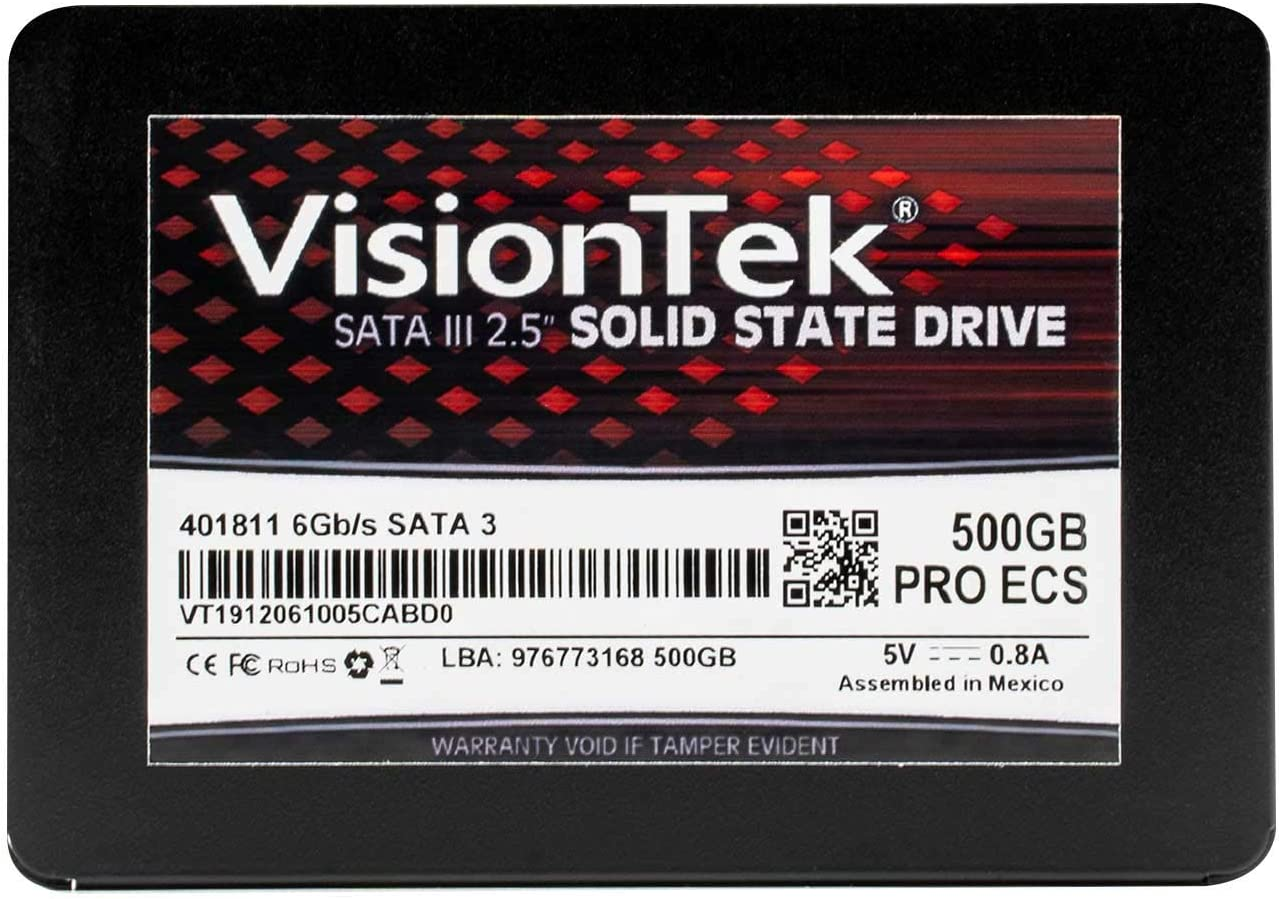 VisionTek 500GB PRO ECS 7mm 2.5 Inch SATA III Internal Solid State with 3C TLC NAND Technology Drive for Desktop Computers, Laptops and Mac Systems (901299)