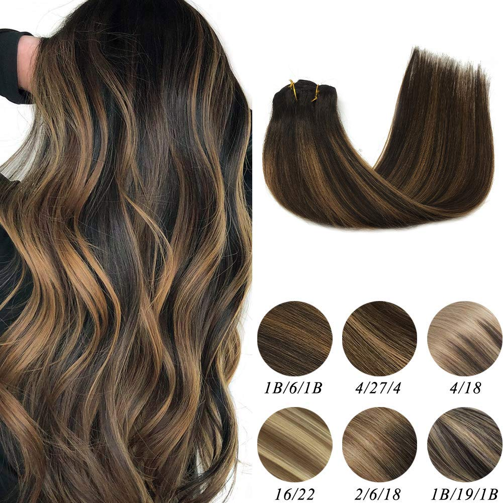 Labeh 100% Remy Human Hair Clip in Hair Extensions Double Weft Natural Black Ombre Hair Extensions Mixed Light Brown #6 Balayage Straight Hair Clip in Extensions (7pcs 120g 16inch) by LAB·EH