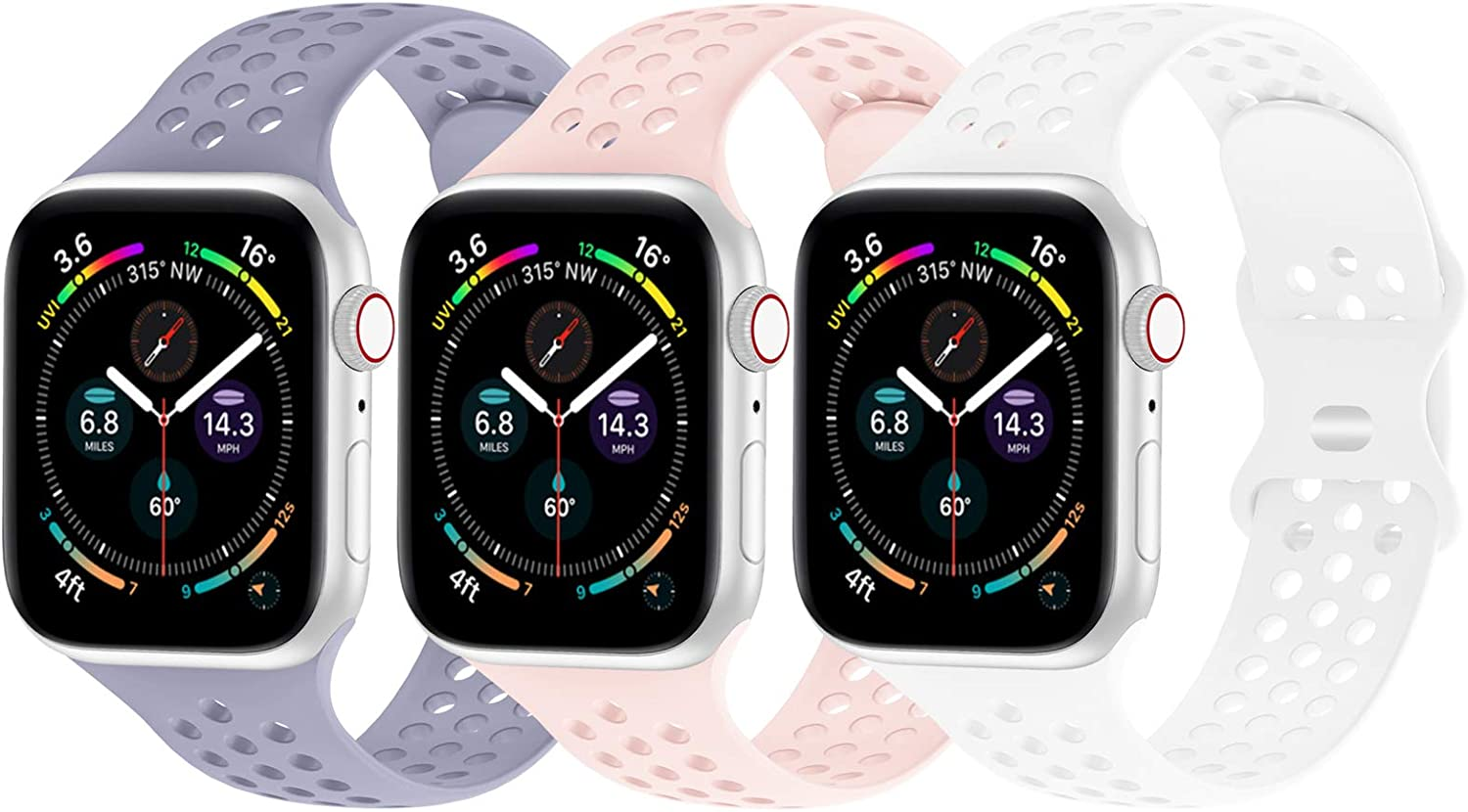 YAXIN Compatible with Apple Watch Band 38mm 40mm 42mm 44mm, Sport Band iWatch Band Compatible for Apple Watch Series SE 6/5/4/3/2/1 Sport Edition, Replacement Strap for Women Men, 3 Pack