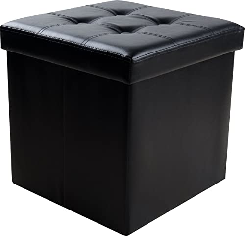 Sable Storage Ottoman, 15 Cube Foldable Bench, Faux Leather Foot Rest Stools for Bedroom and Living Room, Black
