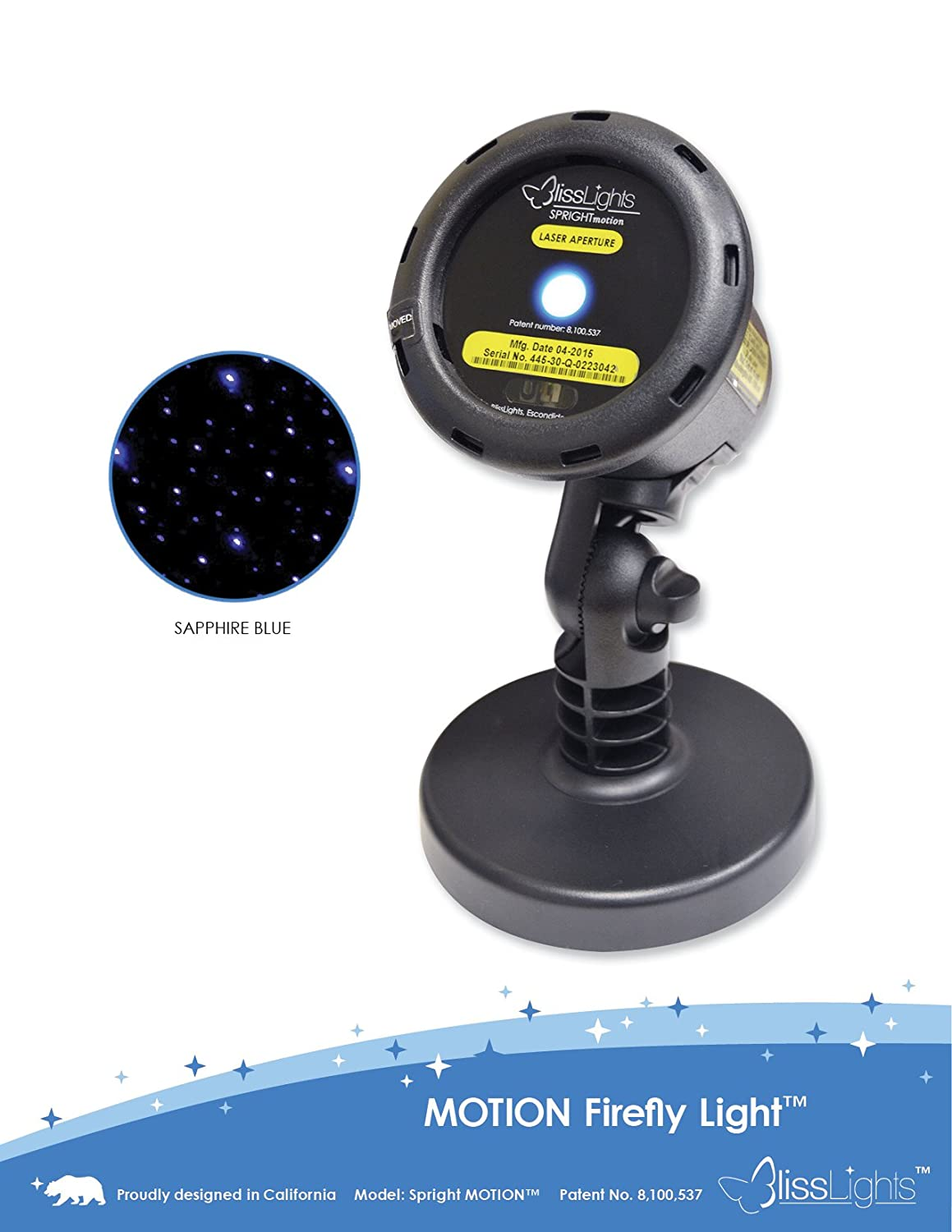 BlissLights Motion Blue FireFly Laser Projector. 10 Speed Settings With Remote Control and 2 Installation Options- Ground Stake or Base Attachment. Covers 50 Feet by 50 Feet. Easy to Install.