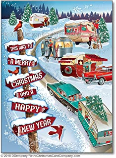 winter vintage campers christmas cards package of 8