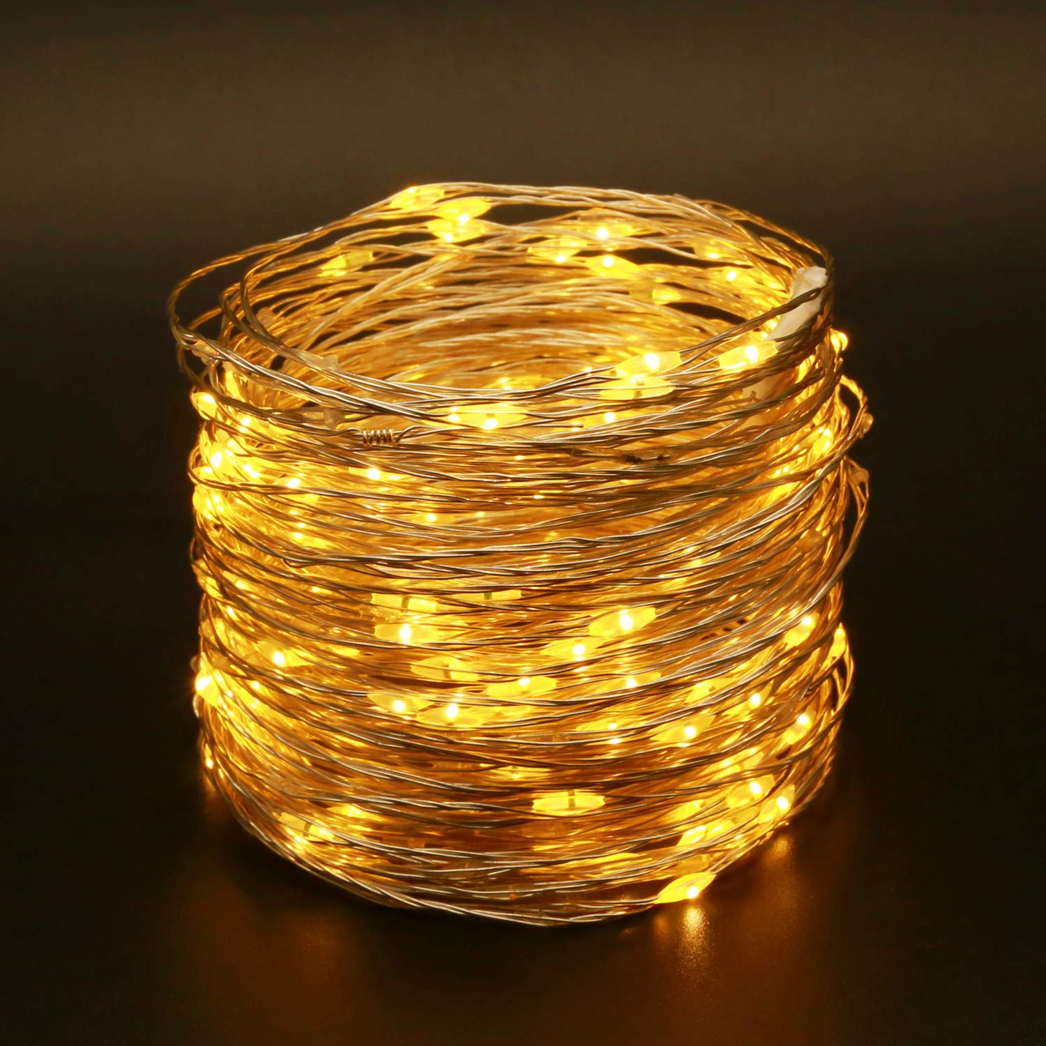 YULETIME Fairy String Lights with Adapter, 50 Ft 150 LEDs Waterproof Starry Copper Wire Lights, Home Decor Firefly Lights for Garden Backyard Christmas Tree (Warm White, Silvery Wire)
