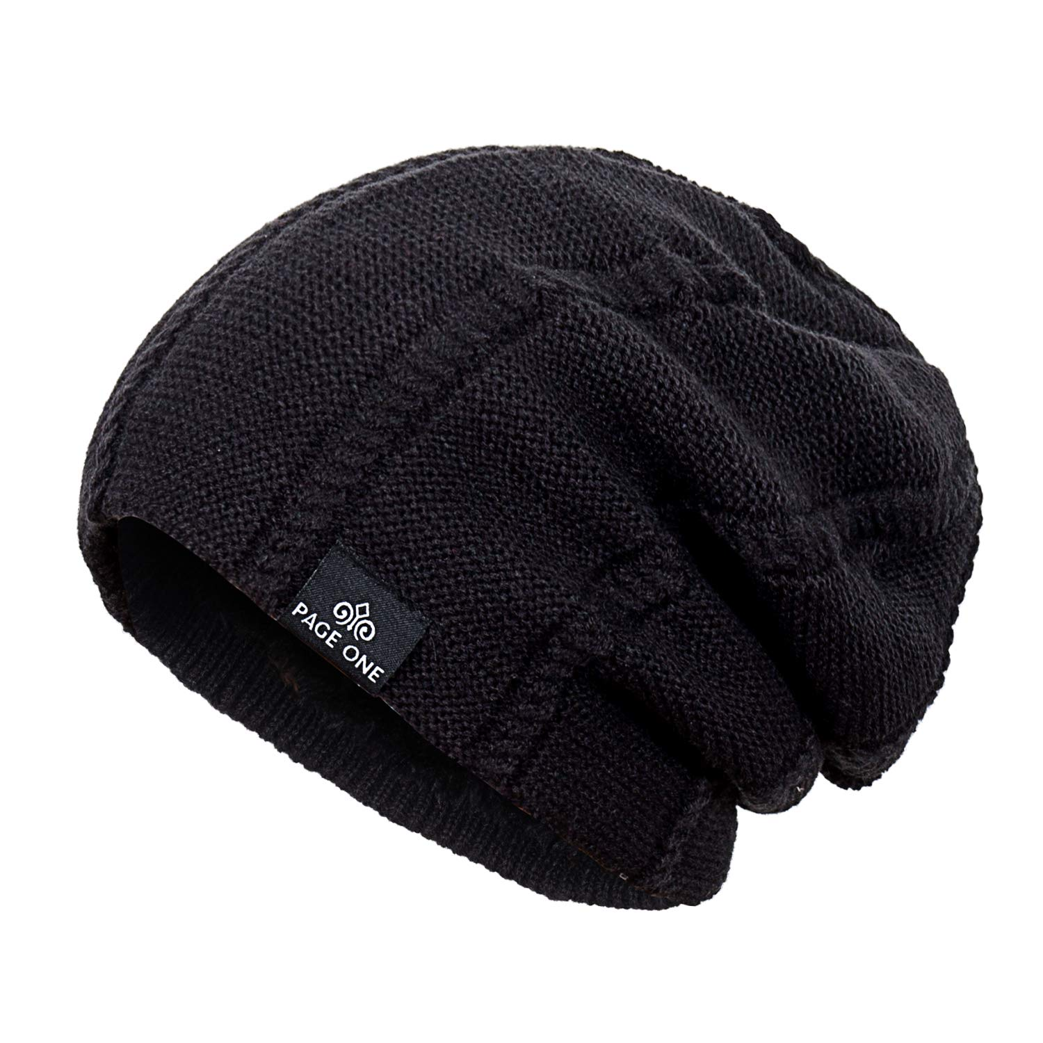 85367c280d9 PAGE ONE Mens Winter Knit Wool Hat Solid Soft Stretchy Slouchy Beanie Men  Women(Black) at Amazon Men s Clothing store