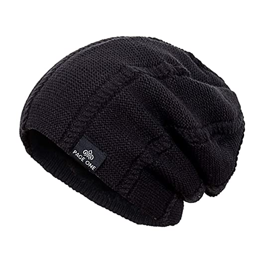 47219012bec PAGE ONE Mens Winter Knit Wool Hat Solid Soft Stretchy Slouchy Beanie Men  Women(Black