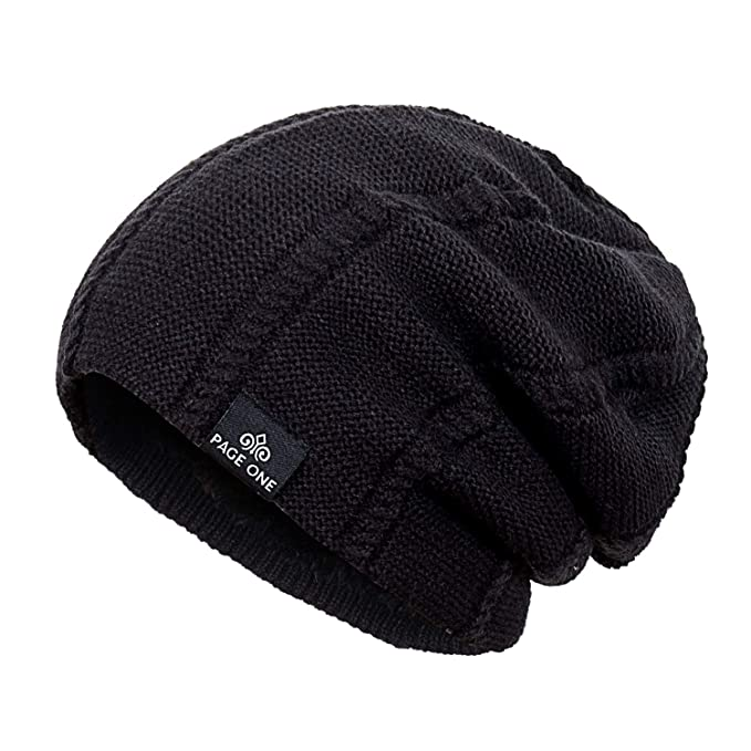 PAGE ONE Mens Winter Knit Wool Hat Solid Soft Stretchy Slouchy Beanie Men  Women(Black ba921dc9c18