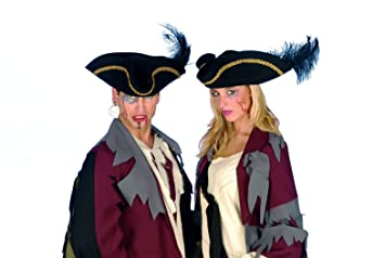 Karnevals Gigant Dreispitz Jack Sparrow Braun Hut Mit Blauer Feder