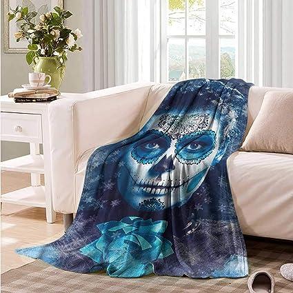 Folk Skull on Red Fleece Throw Blanket