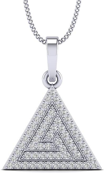 Boho style pave diamond sterling silver TRIANGLE pendant charm