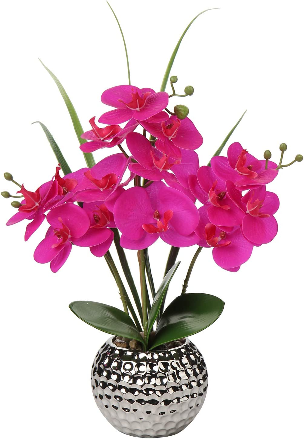 Artificial Orchids 16'' Faux Orchid Plant Phalaenopsis Artificial Flowers Silk Orchid Orquidea Arrangements Ceramics Pot Real Touch Fake Orchid Flowers for Home Office Table Wedding Centerpiece Decor