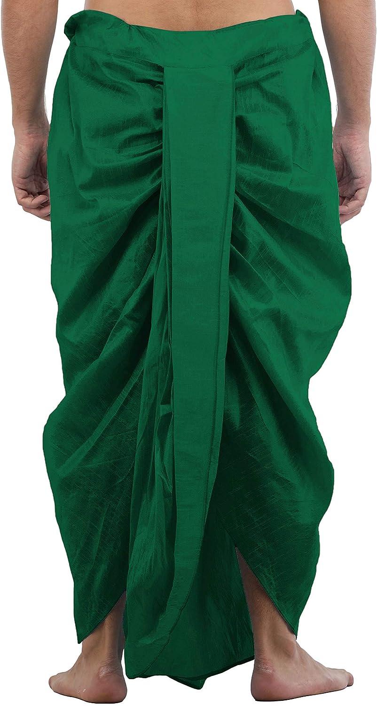Maenner-Dhoti-Dupion-Silk-Plain-handgefertigt-fuer-Pooja-Casual-Hochzeit-Wear Indexbild 9