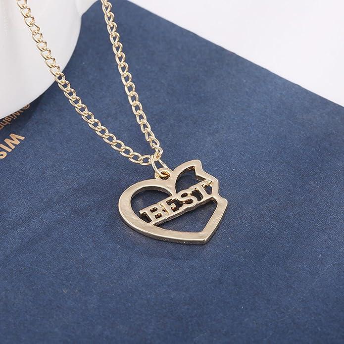1dc6cff54476 Elegant Rose 3 piezas Best Friends Forever BFF plata corazón clave Colgante  Collar Conjunto Amistad accesorios (Gold)  Amazon.es  Joyería
