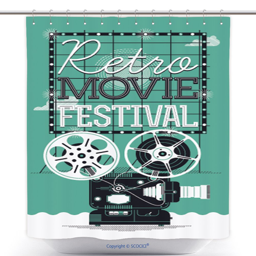 Custom Shower Curtains Cool Vector Detailed Poster On Retro Movie Festival Event With Cinema Motion Picture Film Projector 257795419 Polyester Bathroom Shower Curtain Set With Hooks