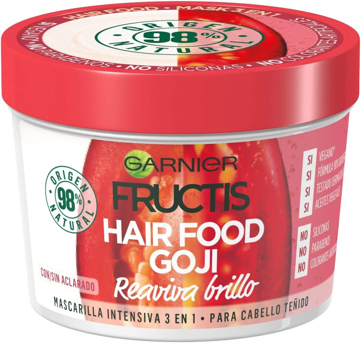 Garnier Fructis Hair Food Goji Mascarilla Reaviva el Brillo 3 en 1 - 390 ml
