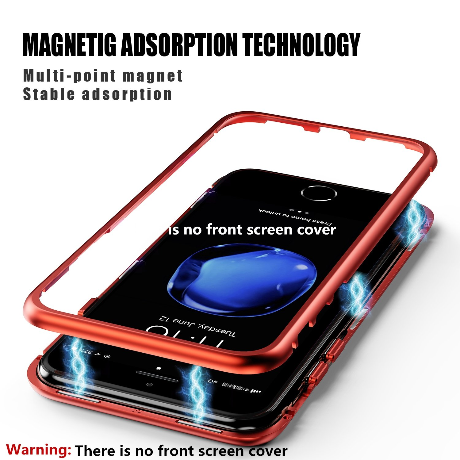 ZHIKE Magnetic Adsorption Case Metal Frame Tempered Glass Back with Built-in Magnet Cover for Apple iPhone 7Plus//8 Plus Clear Red iPhone 8 Plus Case,iPhone 7 Plus Case