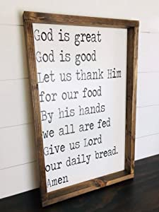 God is Great God is Good Sign Kitchen Meal Prayer Christian Decor Sign Farmhouse Style Rustic Decor Wood Framed Bible Verse Scripture