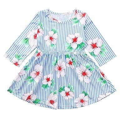 810d031e43e6 Amazon.com  KONFA Teen Baby Girls Flowers Stripes Print Sundress ...