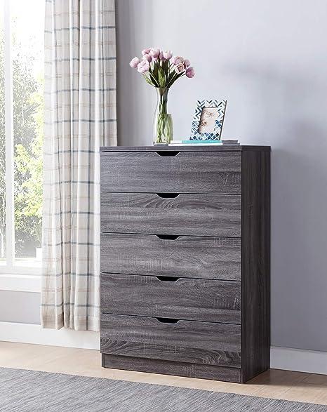Smart Home Contemporary 5 Drawer Bedroom Chest Dresser