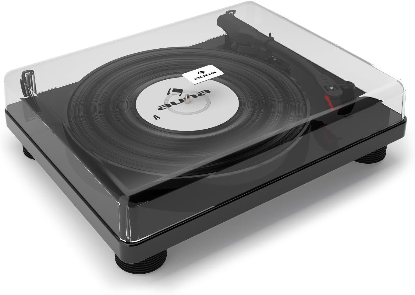 auna TT-Classic BK Tocadiscos • Reproductor de vinilos • Accionamiento por correa • Reproductor puerto USB • Digitalizar