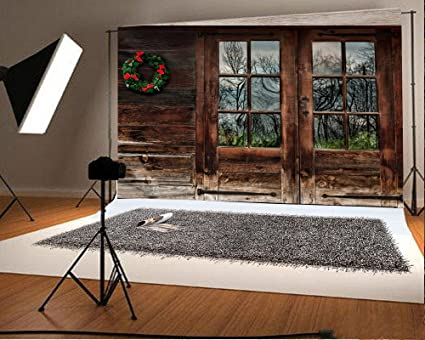 Laeacco 10x65ft Vinyl Backdrop Rustic Wood Cabin With Christmas Wreath Decoration Photography Background Old Wooden House Shabby Window Door Walls