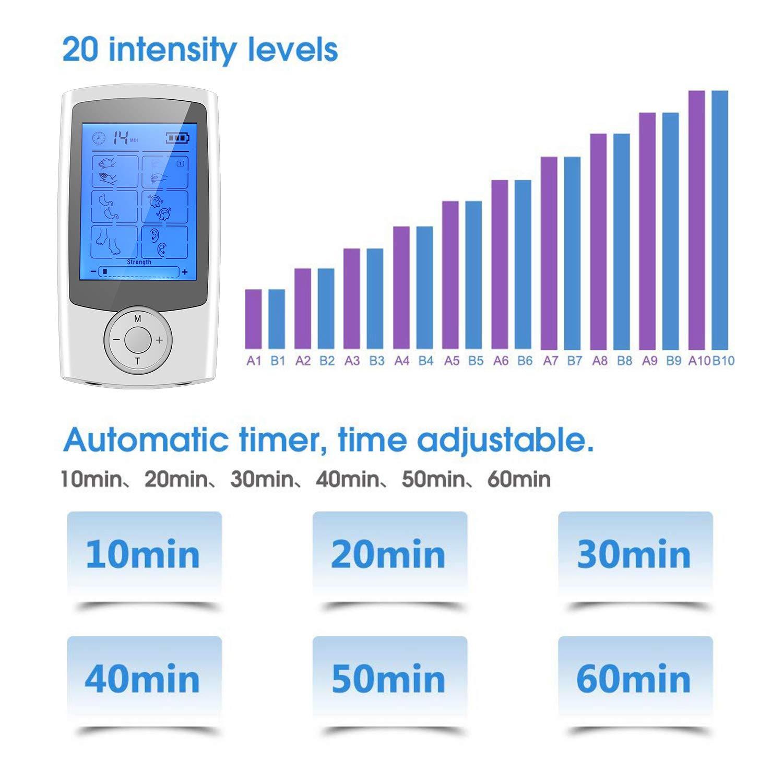 Beautlife Elettrostimolatore Muscolare Professionale EMS/tens 16 modalità Operative e 8 Elettrodi per i Massaggi a Impulso per i Dolori Cervicali,la Sciatica e per l'Indolenzimento Muscolare