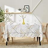 "Fmfunctex Branch White Yellow Table Cloth Wide 70""x 84"" Rectangle Fabric Kitchen Table Cover Waffle Weave Textured Water…"
