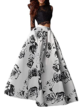 f8b78eee9d Women s Floral Long Sleeve Prom Dresses 2019 2 Piece Formal Gowns Size 2  Black