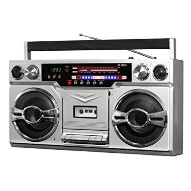 Victrola VBB-10-SLV 1980's Bluetooth Boombox with Cassette Player and AM/FM Radio, Silver