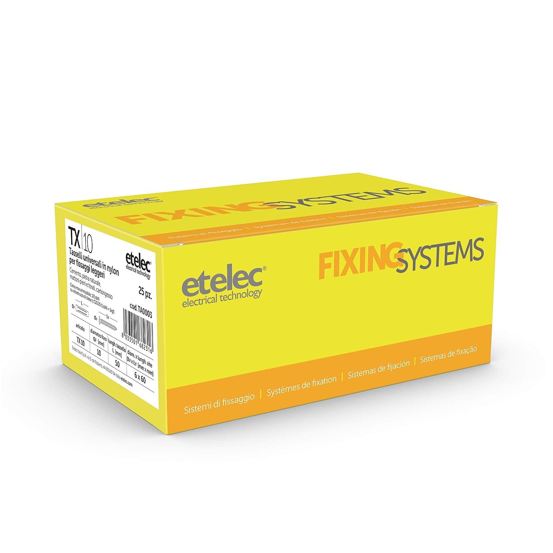 Etelec Kit caja 25 tacos universales TX10 nailon 10 x 50 mm Tornillo 6 x 60 mm TA0003