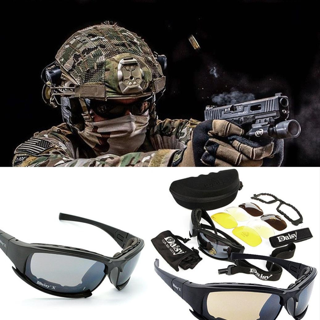 OVERMAL 4 Lens Kit Army Goggles Military Sunglasses Men's Outdoor Sports War Game Tactical Glasses by OVERMAL (Image #3)