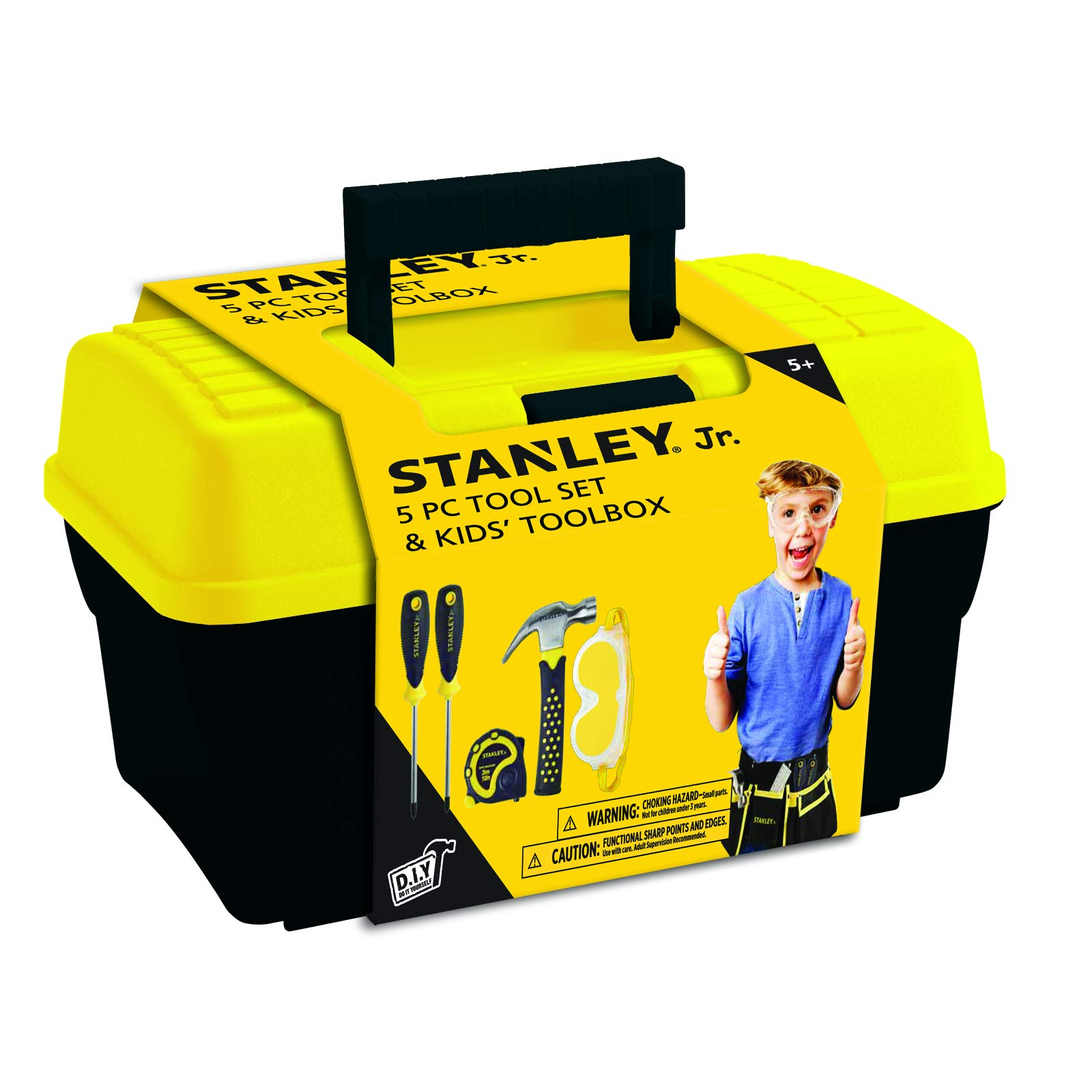 Stanley Jr.. - Tool Box and 5 pcs Set of Tools, Tool Set Ages 5+ (TBS001-05-SY), Mixed by Stanley Jr.