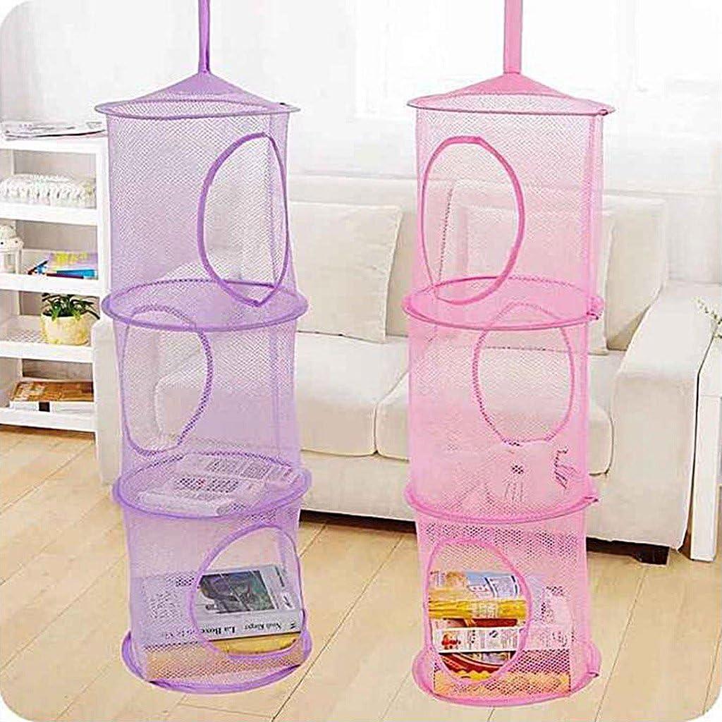 qianber Red de 3 estantes para ni/ños para Colgar en el Dormitorio Organizador de Juguetes en la Pared o en el Armario Bolsa de Malla para el hogar
