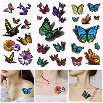 10 Hojas Mariposa Tatuajes Temporales para Adultos Mujer Niños ...