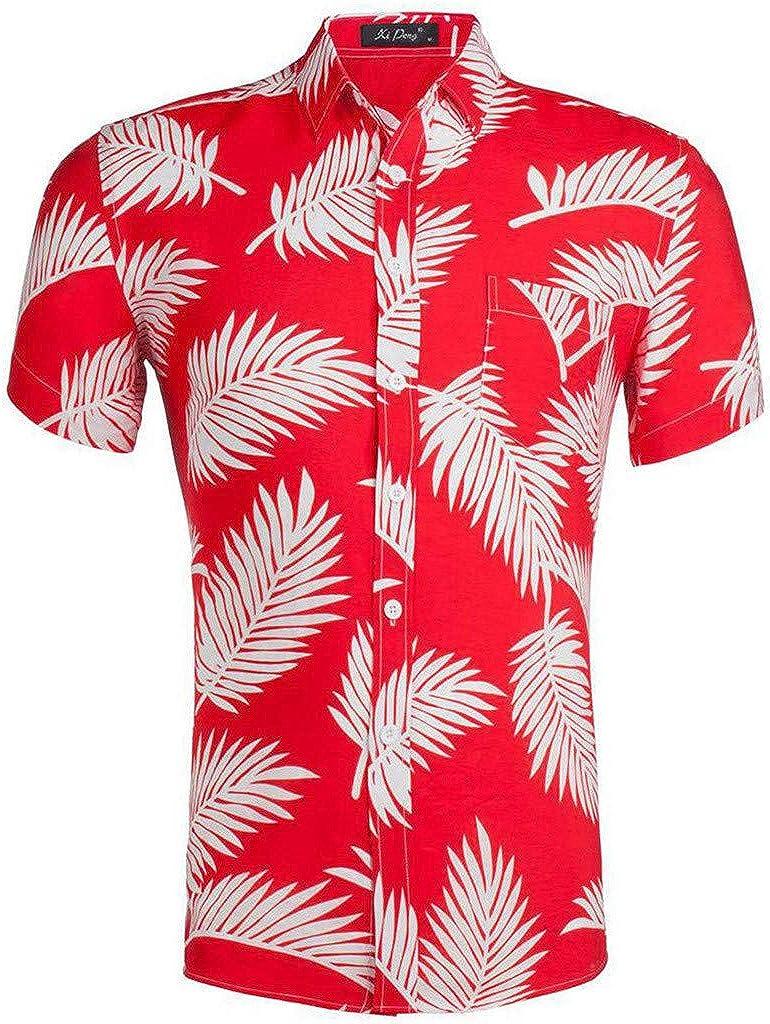 URIBAKE Aloha Camisas de Hombre de Ajuste Relajado, Mangas Cortas, Hojas Tropicales, Playeras, Informales, Playeras, Hawaianas - Rojo - XL: Amazon.es: Ropa y accesorios