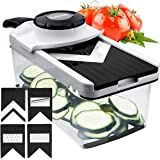 Godmorn Mandoline Slicer Adjustable V-blade Mandolin Vegetables Cutter Fruits Shredder Grater, Handheld 5+1 Food Julienne, Safety Hand Guard for Carrot Cucumber Potato Tomato Cheese