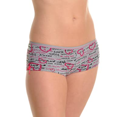 Angelina Cotton Cheeky Boxer Briefs with Love Print Design (12-Pack) 9dde424b9