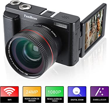 Camara Fotos Full HD 1080P,FamBrow Camara de Video WiFi 24MP ...