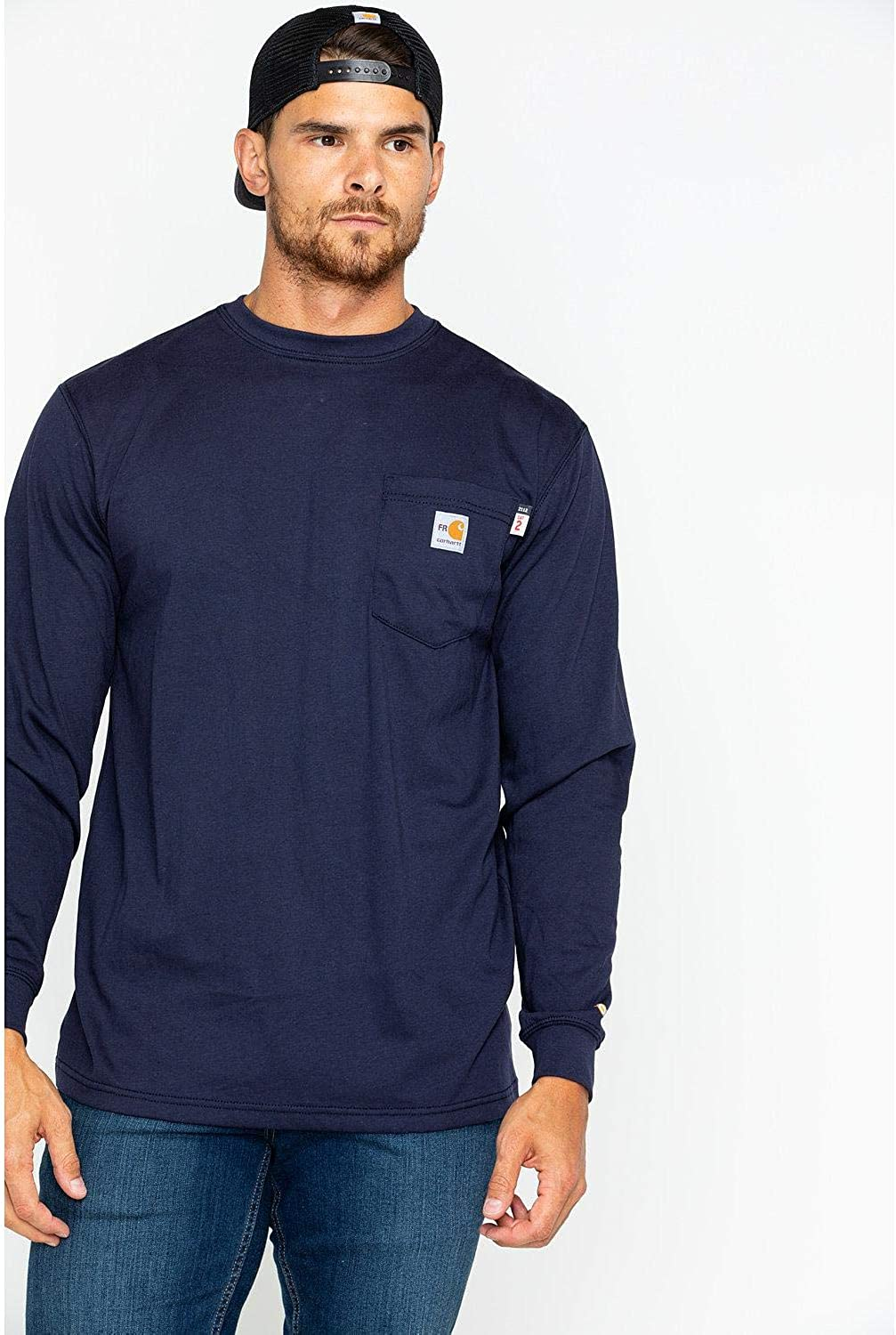 Amazon Com Carhartt Men S Flame Resistant Force Cotton Long Sleeve T Shirt Clothing