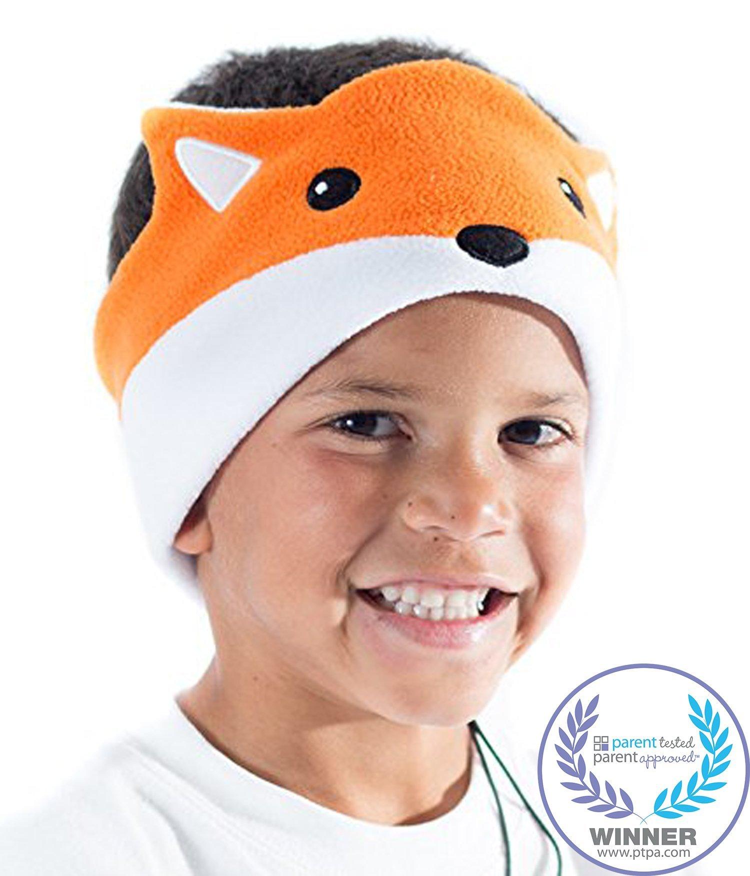 CozyPhones Kids Headphones Volume Limited with Ultra-Thin Speakers Soft Fleece Headband - Perfect Children's Earphones for Home and Travel - Fox