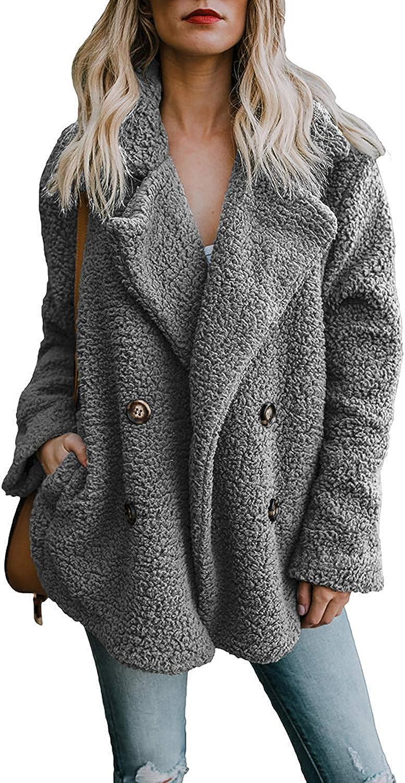 Zeagoo Women's Winter Warm Faux Fur Coat Long Sleelve Cardigan Boyfriend Shearling Fuzzy Jacket with Pockets