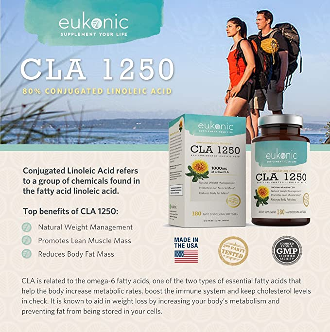 Amazon Com Eukonic Cla 1250 Mg 180 Softgels Natural Diet Pills For Increased Weight Loss And As A Fat Burner 100 Safflower Oil Lose Weight Faster Non Gmo 3rd Party Tested Health Personal