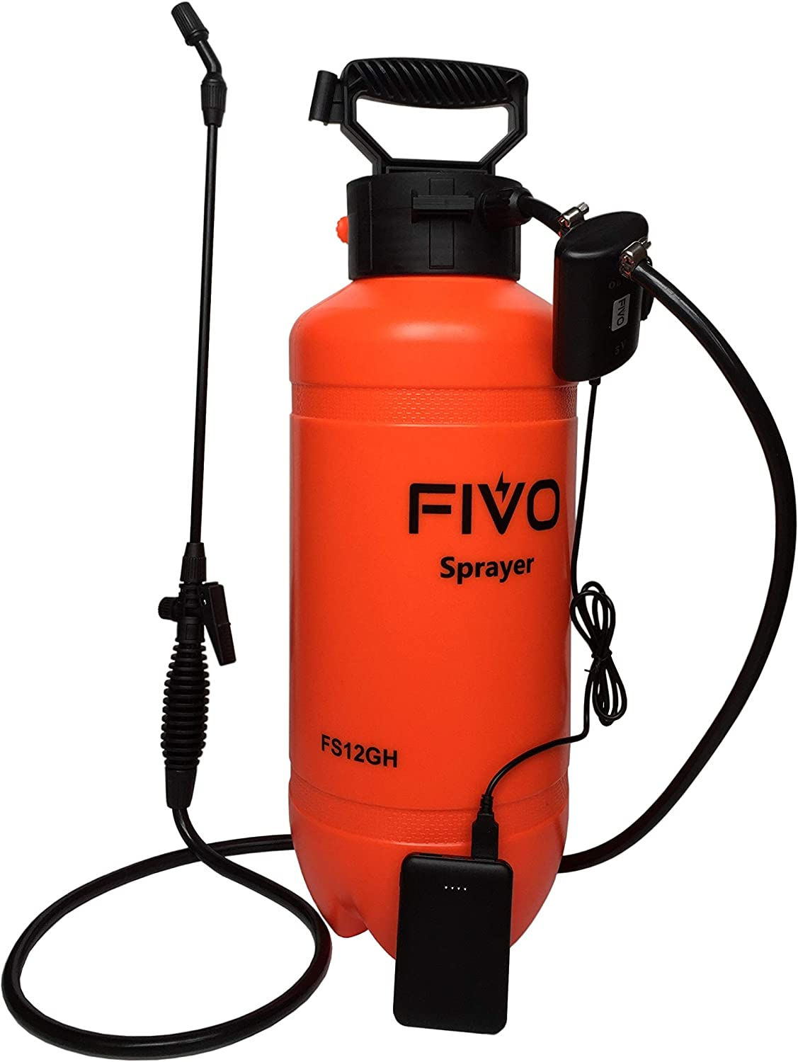 FIVO 2 Gallon Battery Powered Sprayer for Lawn and Garden, Powered Sprayer and Pressure Sprayer Dual Functions with Rechargeable 5V 2A Lithium Ion Power Bank and Shoulder Strap