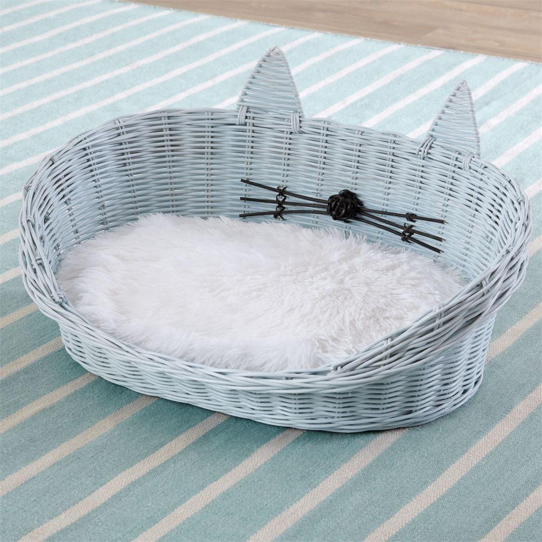 BrylaneHome Cat Ear Rattan Pet Bed (Light Blue,0)